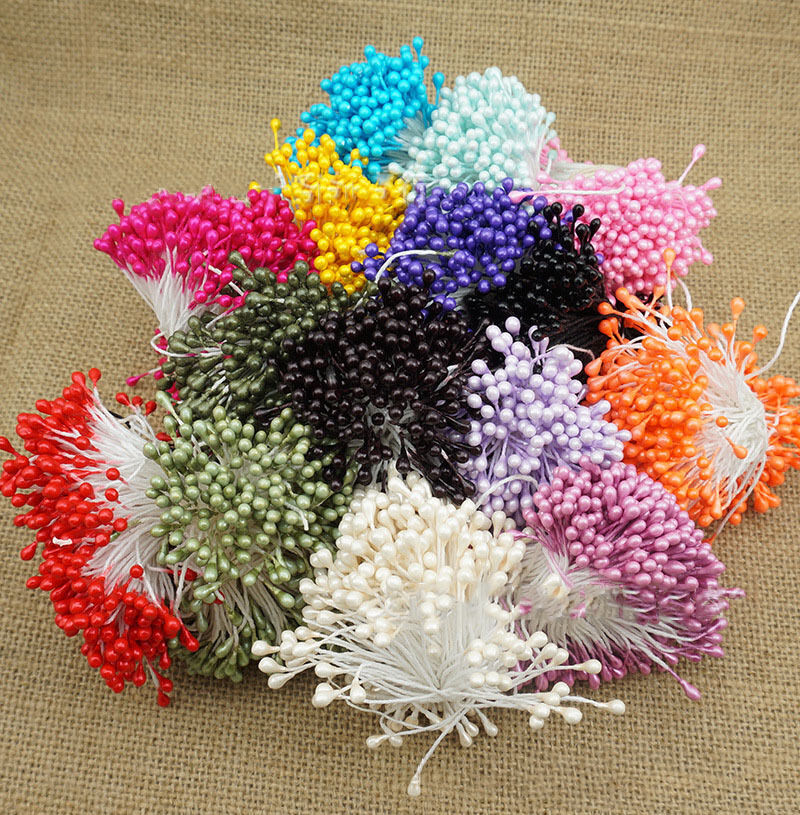 Mini double heads eco friendly artificial flower stamen for Flower heads for crafts