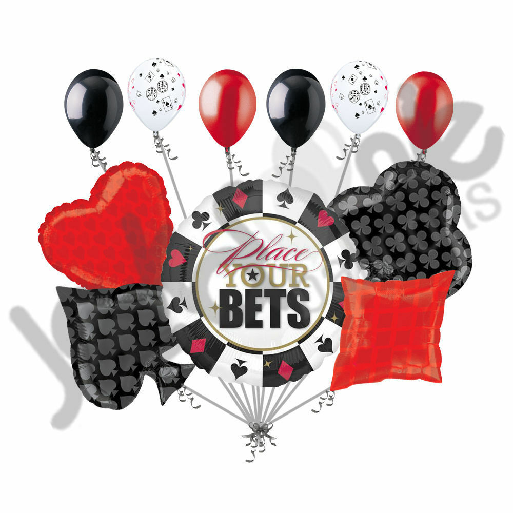 11 Pc Place Your Bets Cards And Dice Balloon Bouquet Poker