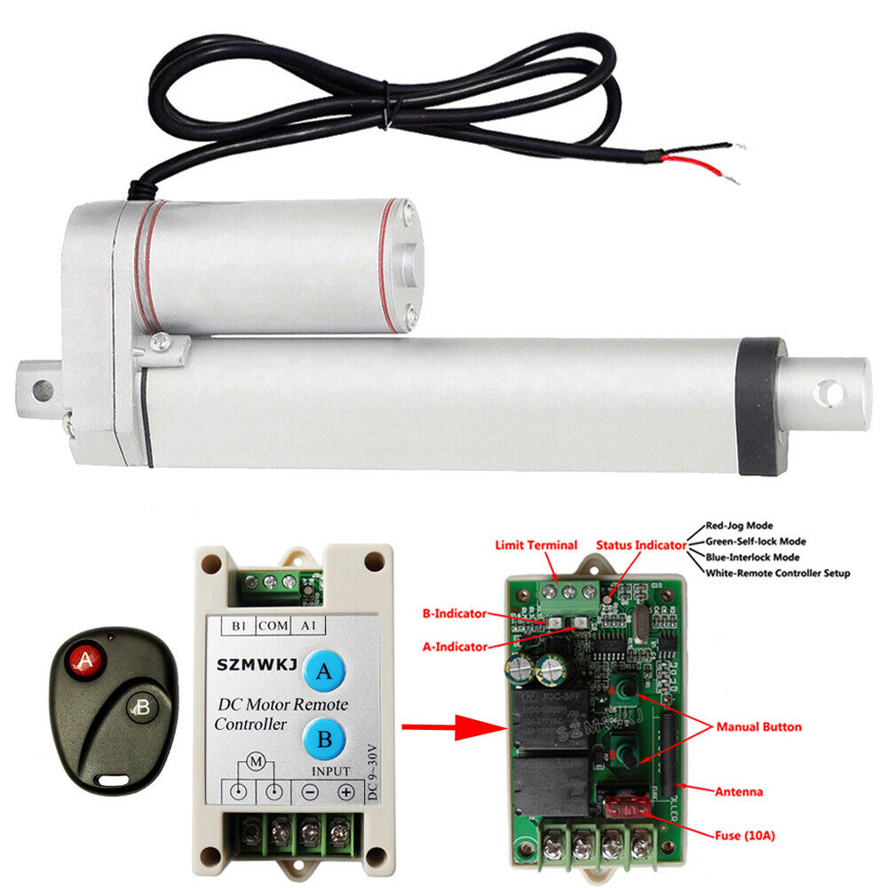 Heavy Duty 8 1500n 330lbs Linear Actuator Remote Control 12v Dc Electric Motor Ebay