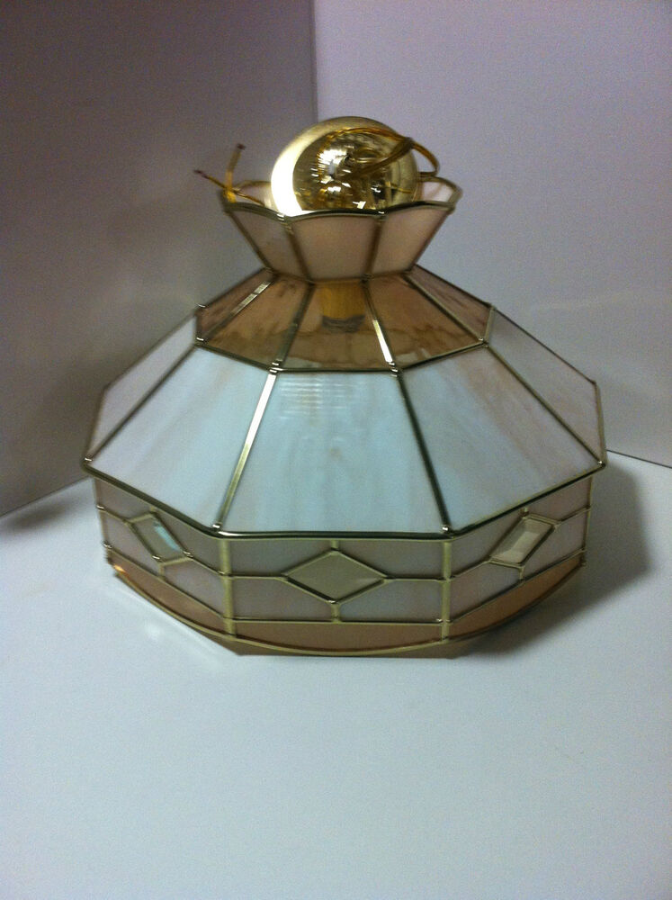 Vintage Colored Amber Stained Glass Light Fixture Hanging Ceiling Lamp Ebay