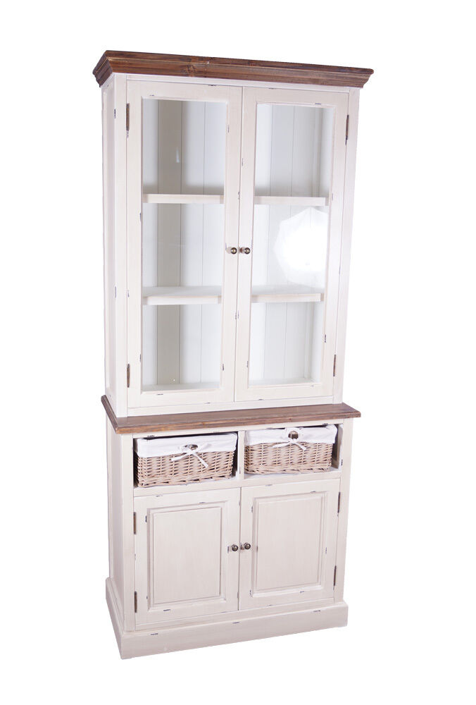 vitrinenschrank marseille buffet holz glas vitrine landhaus vintage creme wei ebay. Black Bedroom Furniture Sets. Home Design Ideas