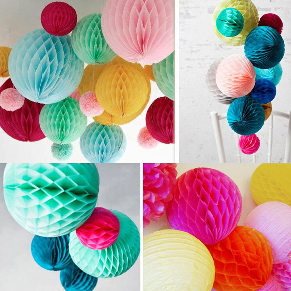 Paper Lanterns Wedding Decoration Ideas: 5PCS Honeycomb Ball Paper Lanterns Wedding Party Festival