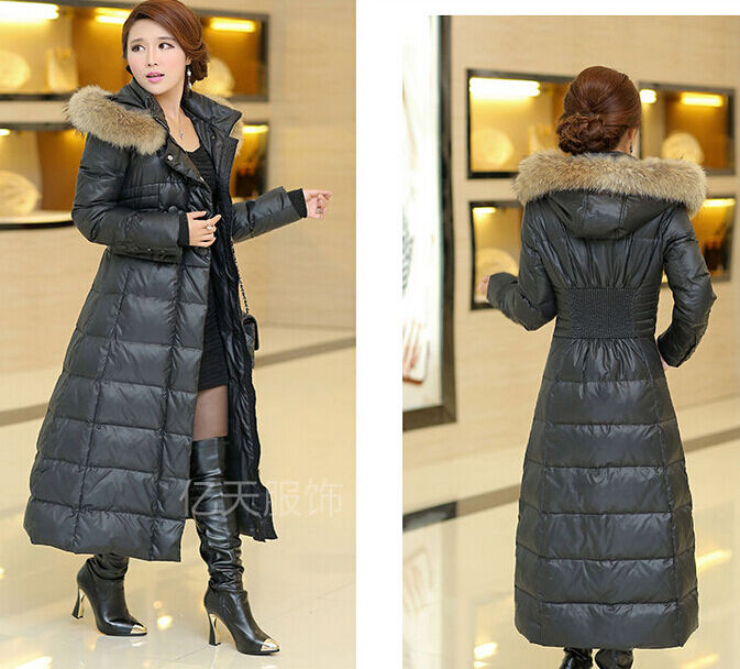 Womens Winter Full length New Plus Size Fur Collar Hooded Long ...