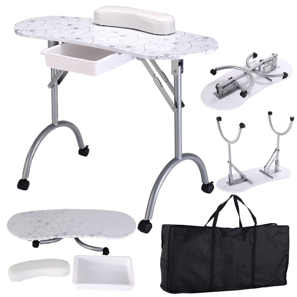 White manicure nail table portable station desk spa beauty for Nail salon equipment