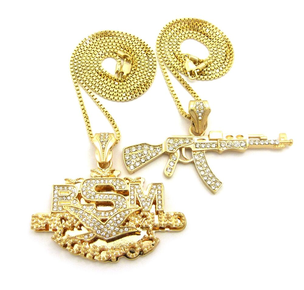 Iced Out Ak47 Machine Gun Bsm Pendant 24 Quot 30 Quot Box Chain