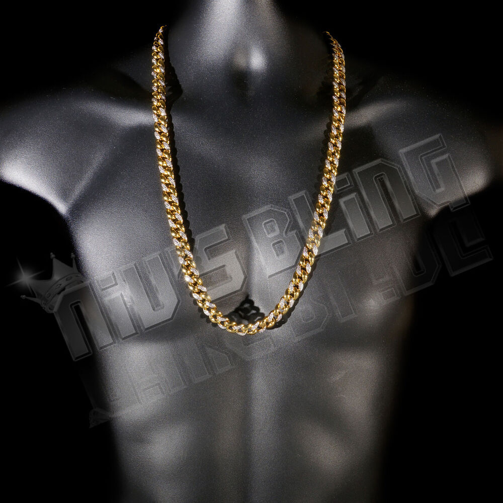 18k Gold Plated Half Cz Iced Out Cuban Chain Link Miami