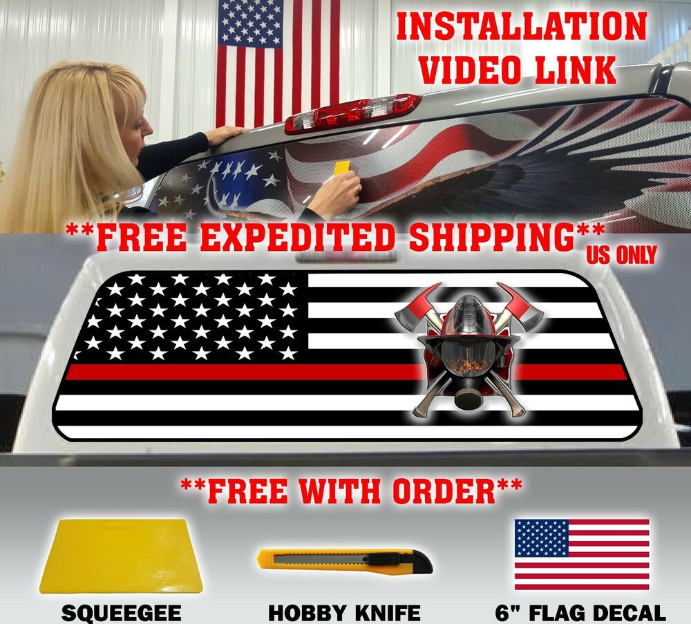 Thin Red Line American Flag Firefighter Pickup Truck Rear