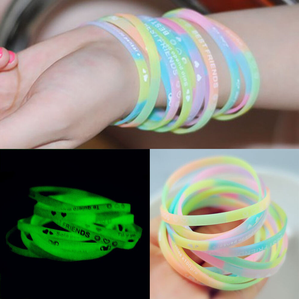 10 20x new style silicone wristbands luminous fluorescent bracelet letter bangle ebay. Black Bedroom Furniture Sets. Home Design Ideas