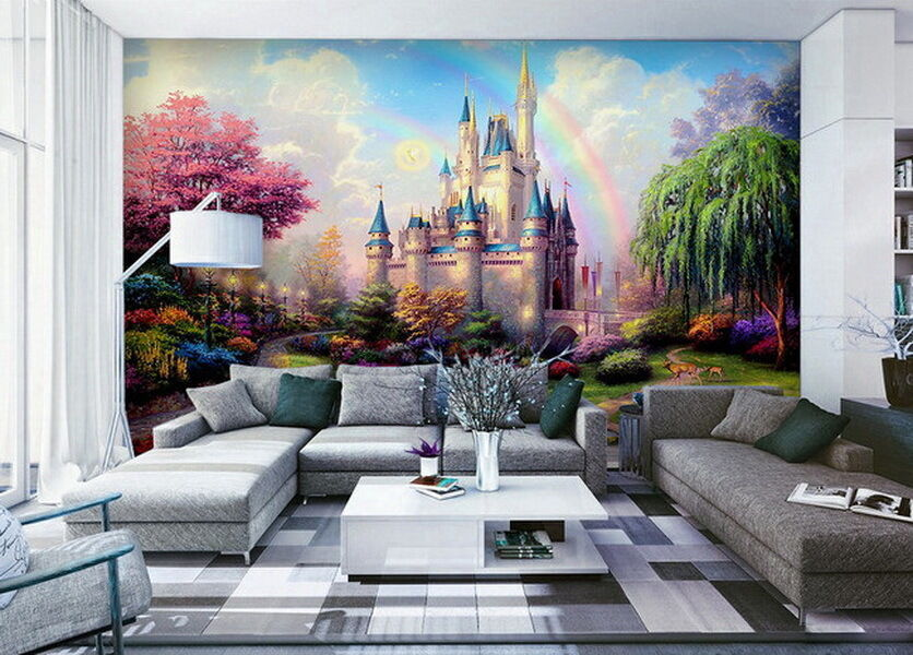 3d tinkerbell fairy castle wall mural rainbow disney for Castle wall mural wallpaper