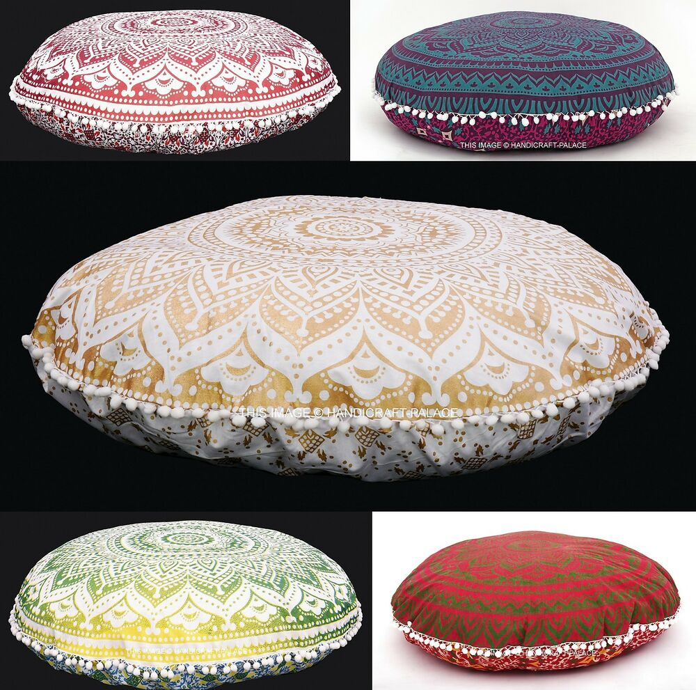 Oversized Round Floor Pillows : 5 Pcs Lot Ombre Mandala Floor Pillows Indian Round Tapestry Large 32