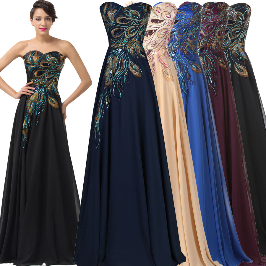 Peacock Vintage Prom Party Formal Evening Long Maxi Dress