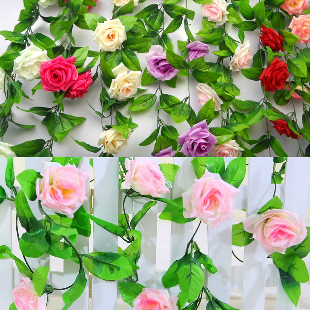 8ft artificial fake silk rose flower ivy vine garland wedding party home decor h ebay. Black Bedroom Furniture Sets. Home Design Ideas