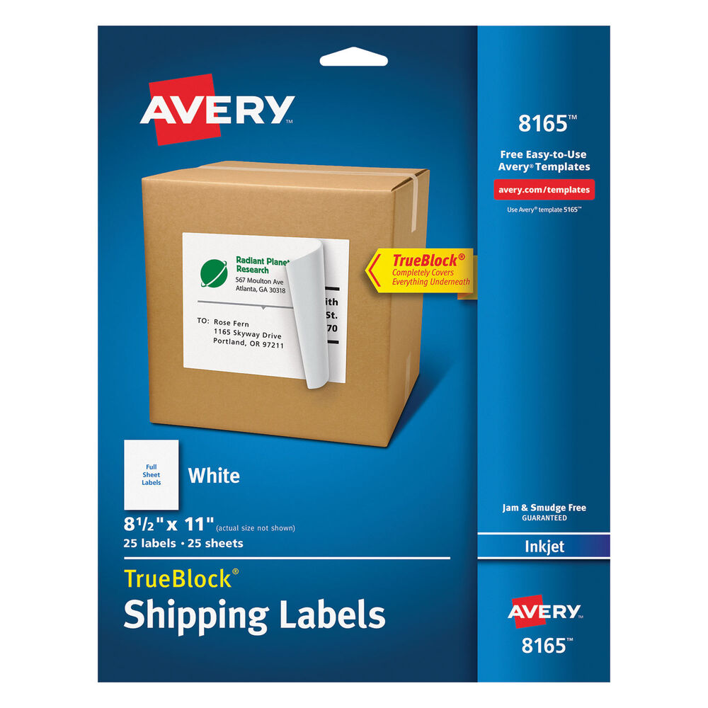 Avery full sheet labels with trueblock technology inkjet 8 for Half page shipping label template