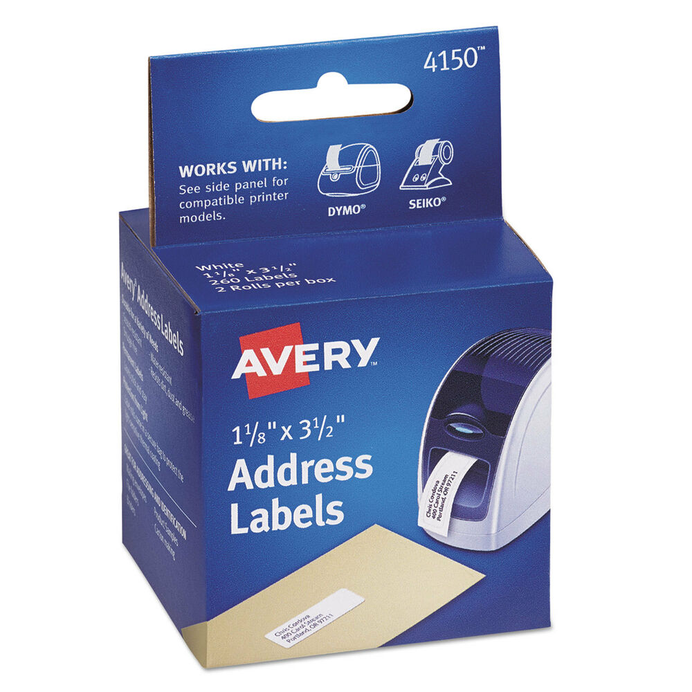 Avery thermal printer address labels 1 1 8 x 3 1 2 white for Avery 8 up labels