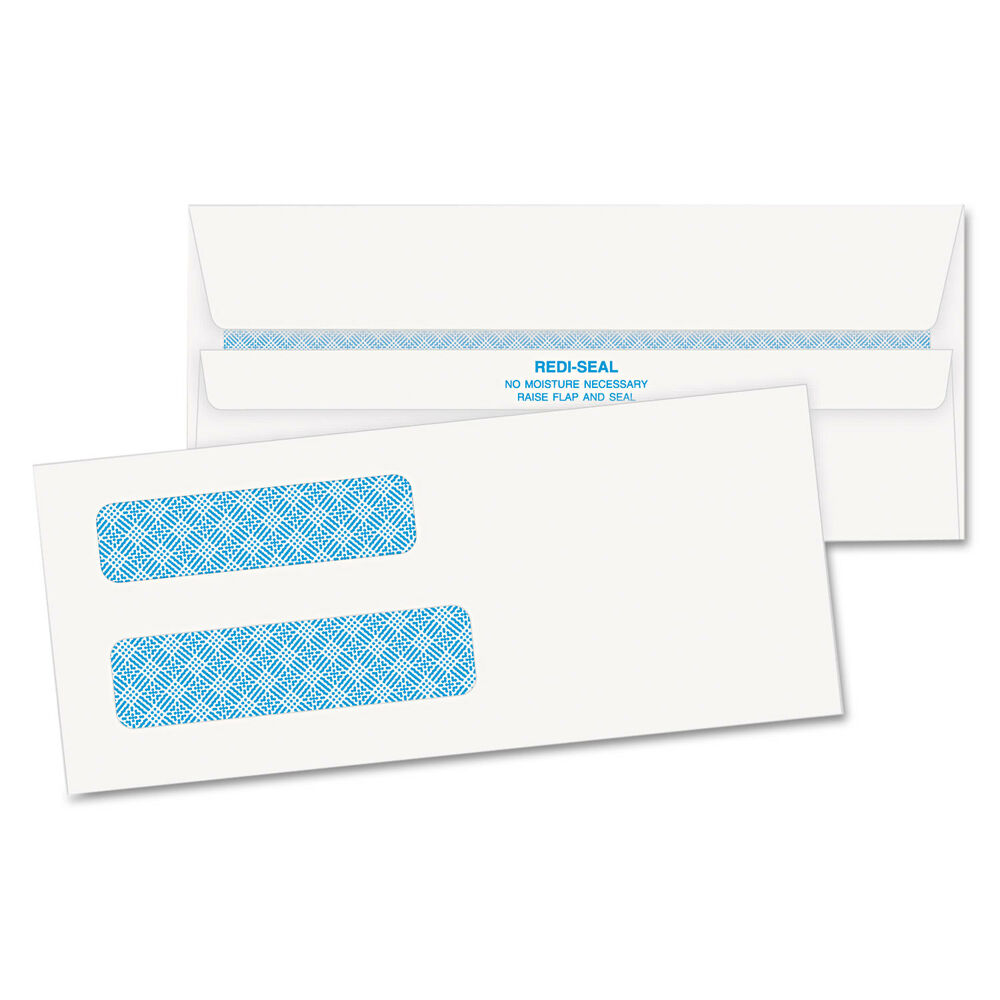 Quality park double window tinted redi seal check envelope for Window envelopes