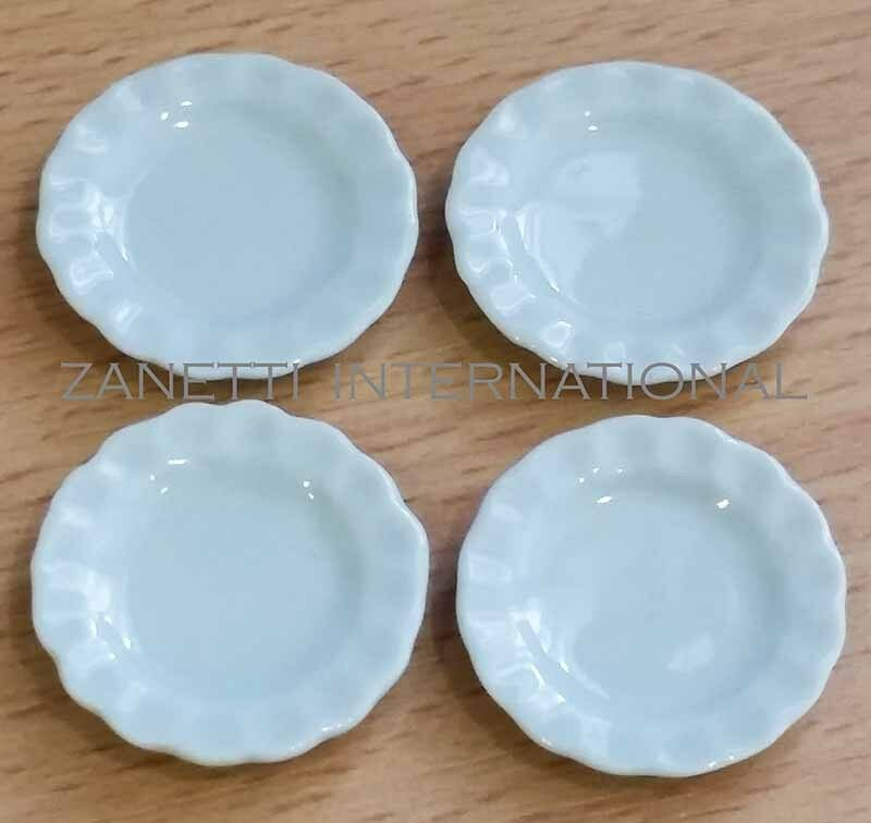 Set Of 4 Dollhouse Miniature Ceramic Plate Dishes Doll