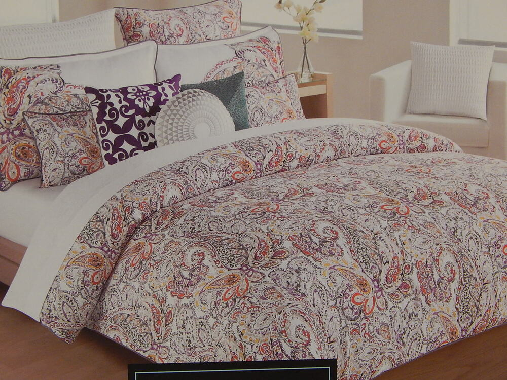 3pc cynthia rowley purple red white coral paisley floral king duvet