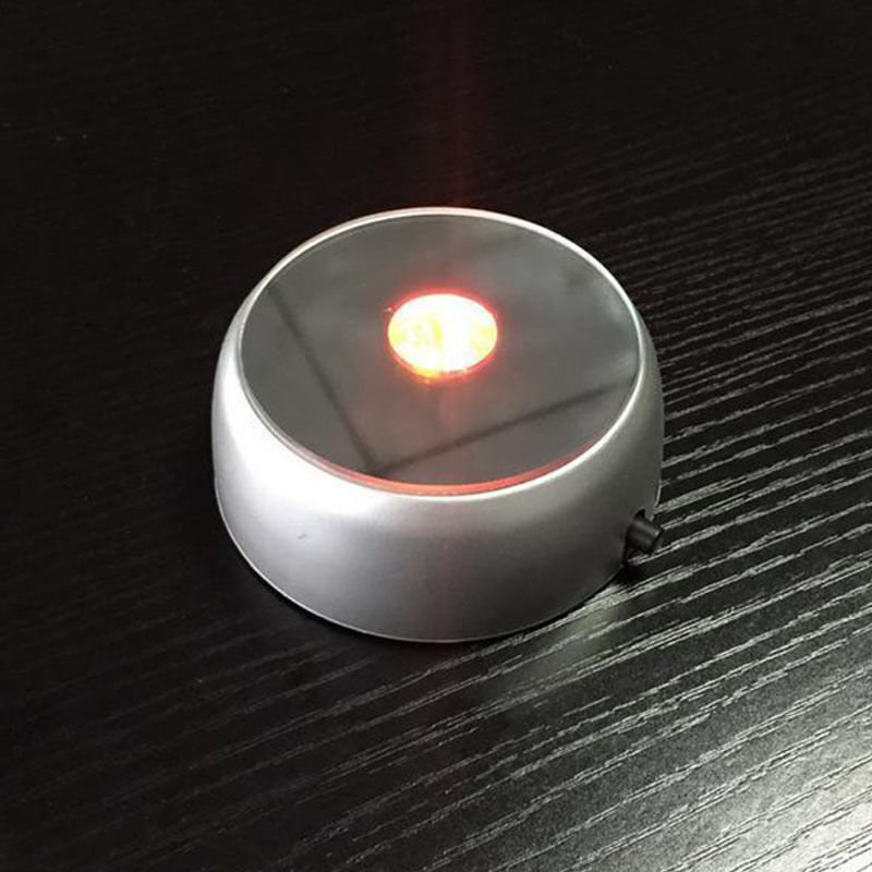 Round 3D Crystal Glass Laser LED Battery Electric Light Up