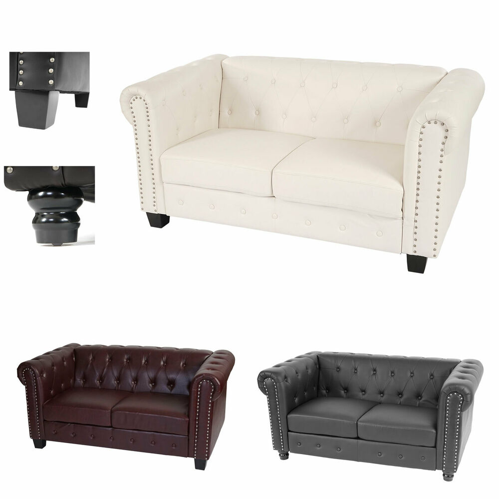 luxus 2er sofa chesterfield loungesofa kunstleder runde oder eckige f e ebay. Black Bedroom Furniture Sets. Home Design Ideas