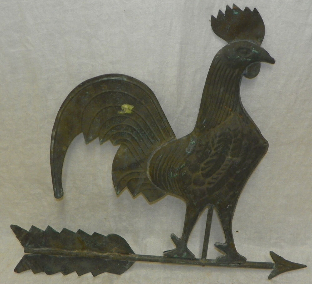 "Vintage Weather Vane: Vintage Old Copper Large 24"" Rooster Weathervane Antique"