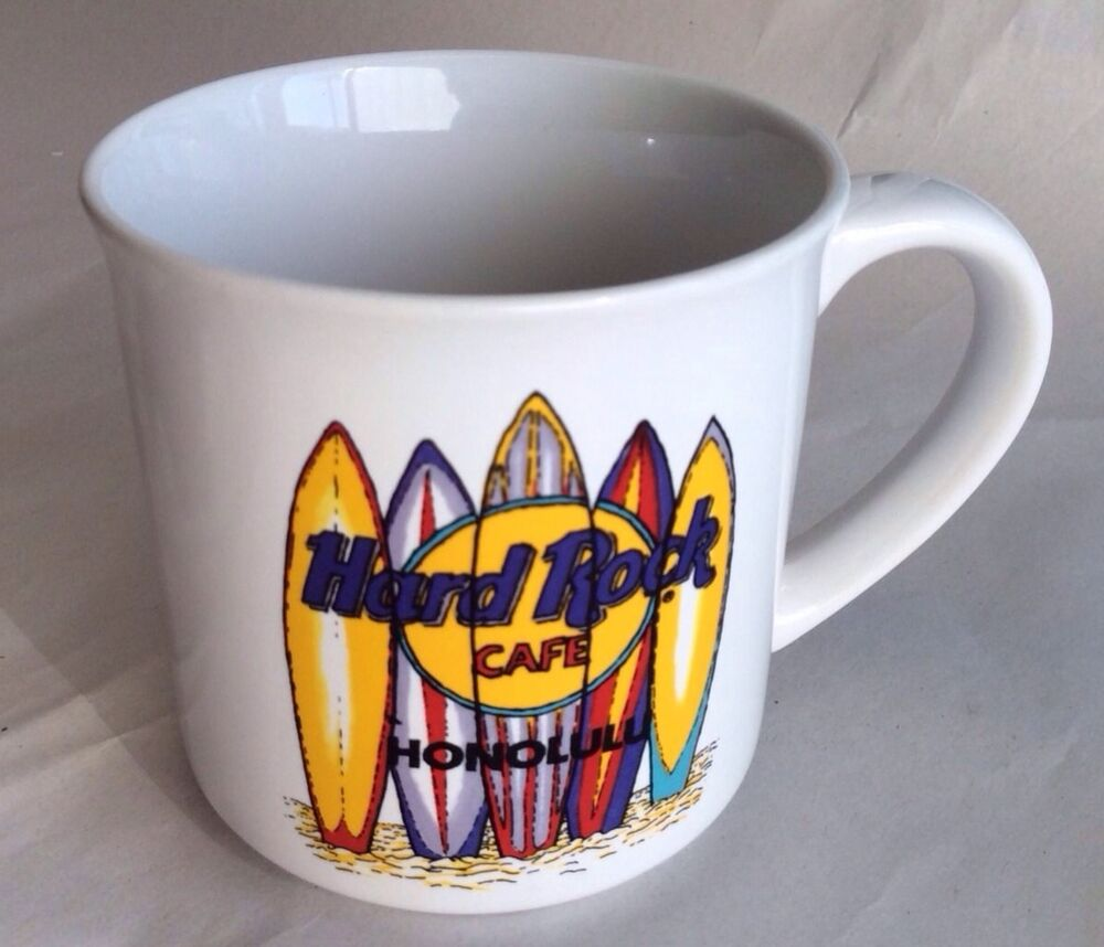 Vintage Hard Rock Cafe Honolulu Surfboard Coffee Mug White