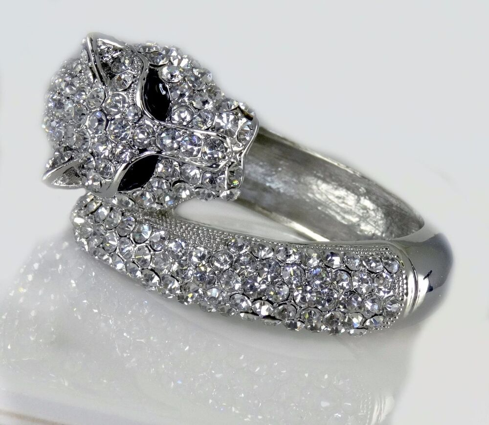 Crystal Panther Silver Clear Pave Hinged Bangle Bracelet ...
