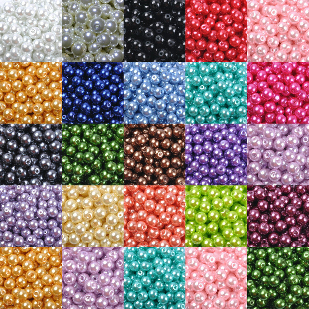 Pearl Beads: Wholesale Glass Pearl Round Spacer Loose Beads 4mm/6mm/8mm