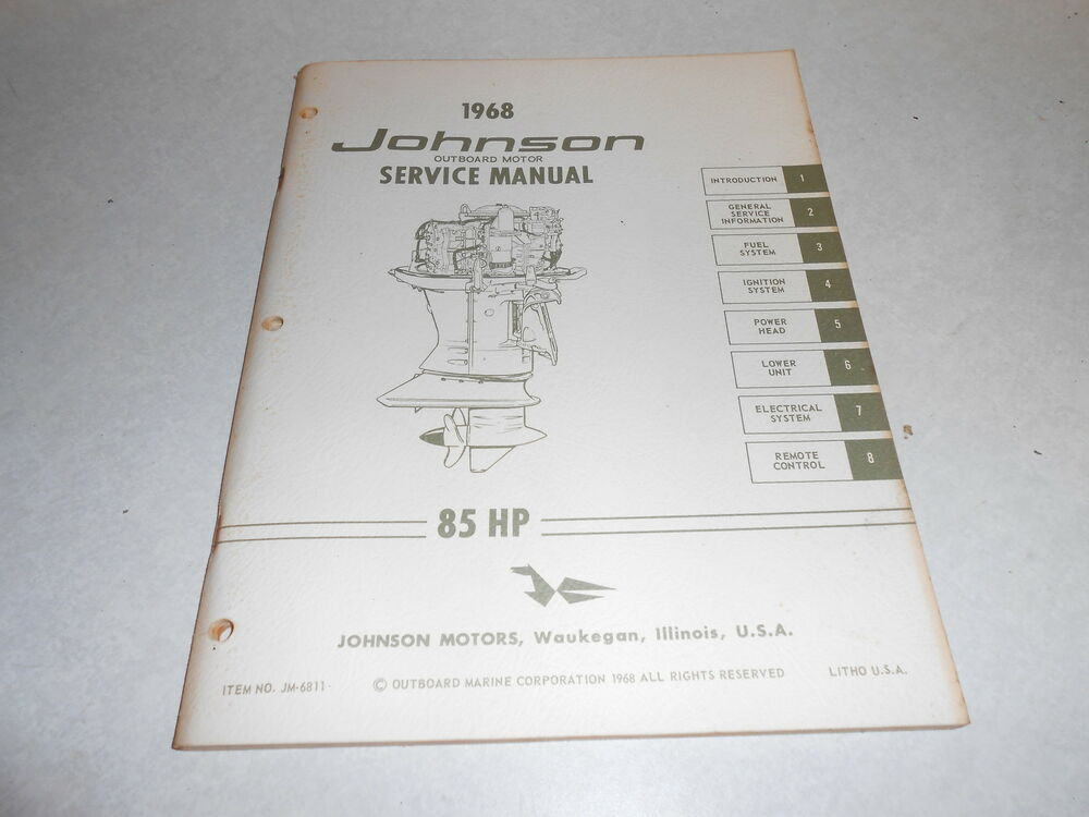 1968 85 hp johnson outboard motor repair service manual. Black Bedroom Furniture Sets. Home Design Ideas