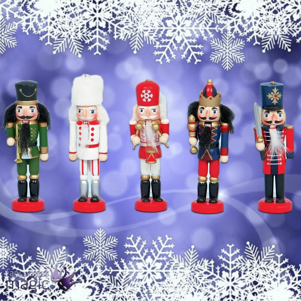 Set Of 5 13cm Christmas Nutcracker Wooden Guard Soldier