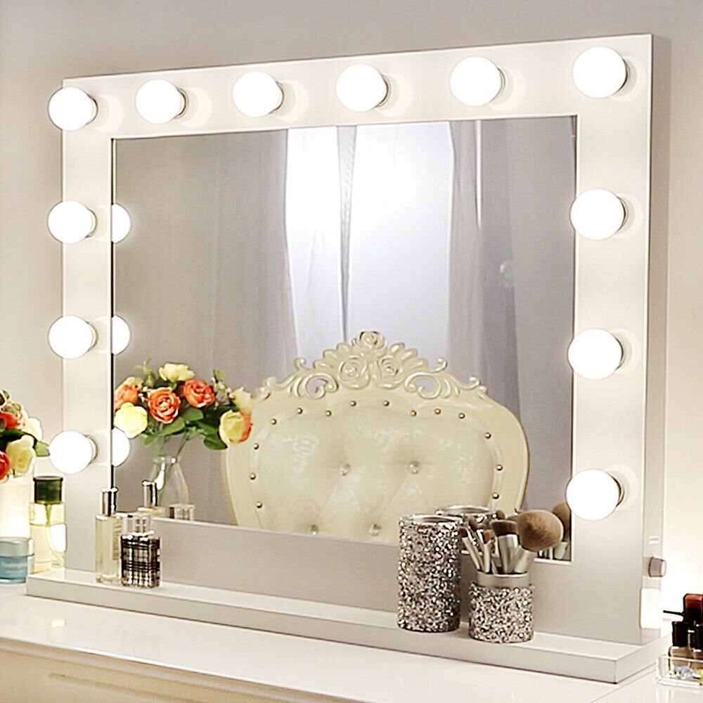 White Hollywood Makeup Vanity Mirror With Light Stage Large Beauty Mirror Dim