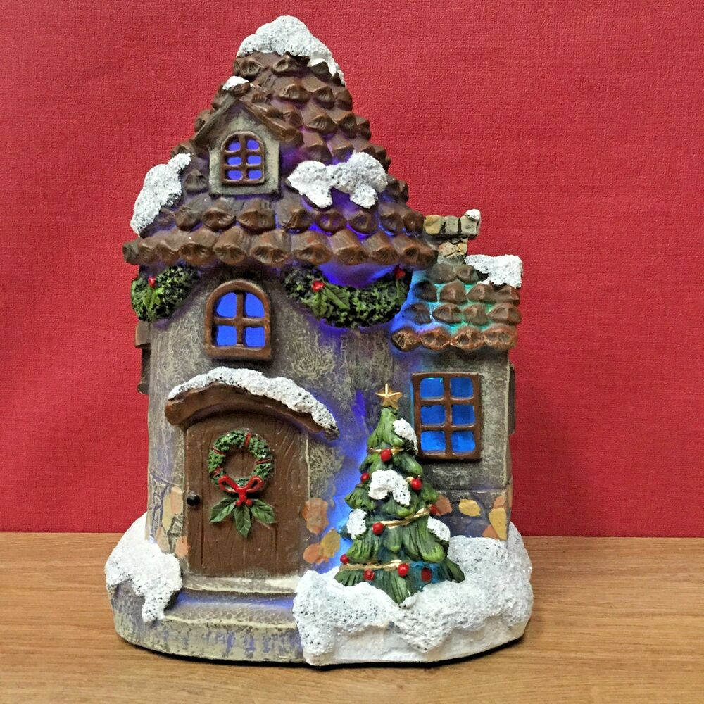 Large christmas fairy door house decoration with led for Large christmas decorations