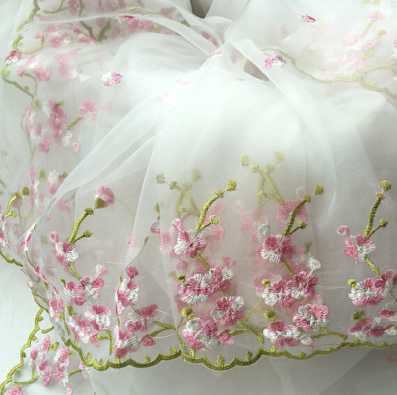 Yard lace fabric white organza pink floral embroidery