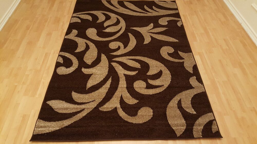 rugs area floral design brown color 5x7 rug