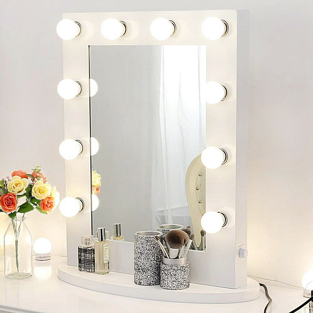 hollywood makeup mirror with lights aluminum vanity lighted mirror dressing room ebay. Black Bedroom Furniture Sets. Home Design Ideas