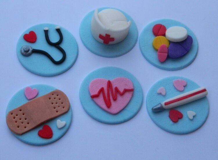 12 edible MEDICAL INSPIRED cake topper CUPCAKE DECORATIONS ...