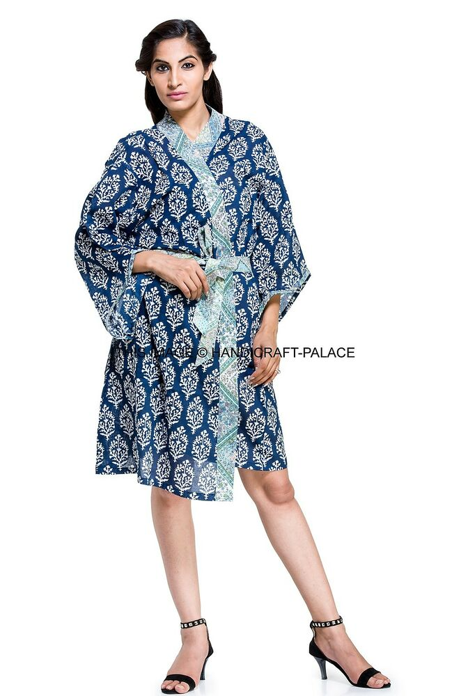 91e1269f44 Details about Ladies Floral 100% Cotton Summer Waffle Bath Robe   Dressing  Gown Indian Kimono