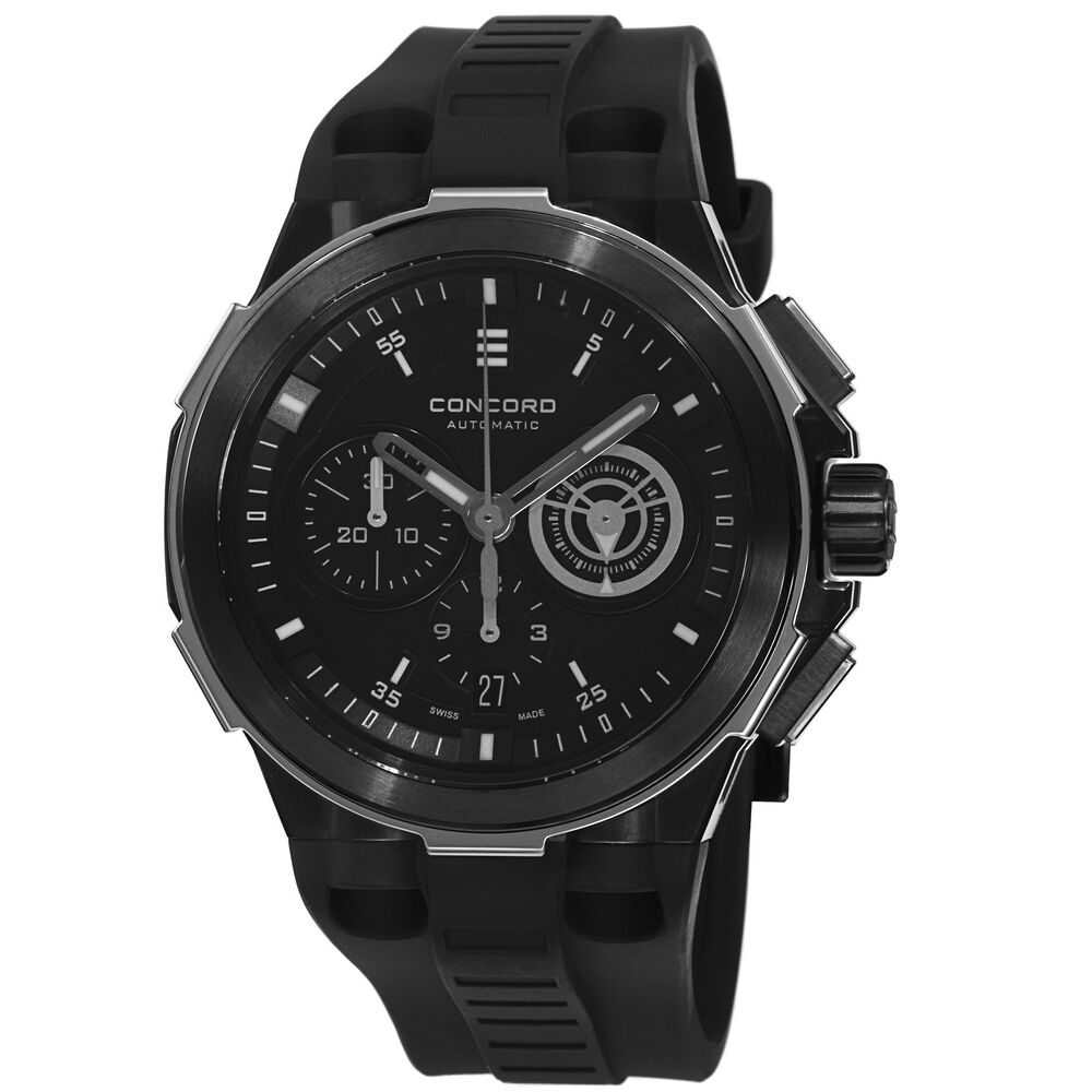 Concord Men's C2 Black Dial Rubber Strap Chronograph ...
