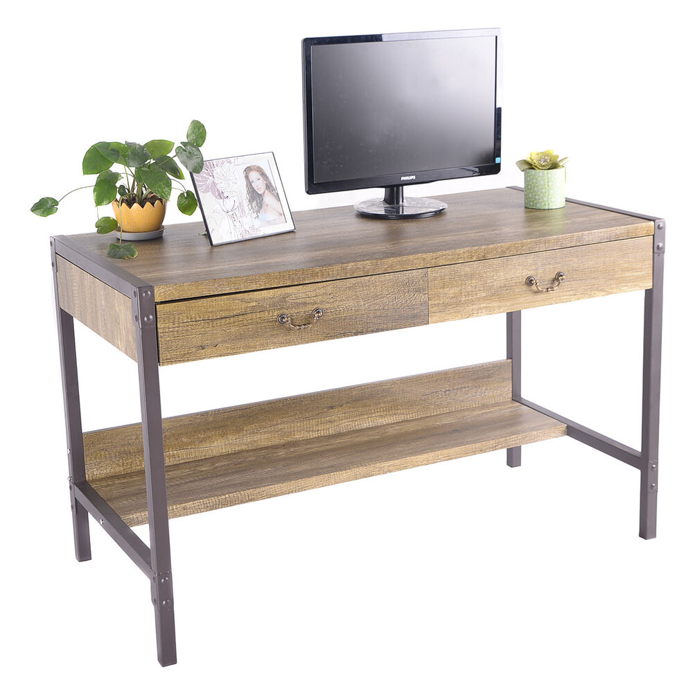 wood computer desk laptop writing table w 2 drawers home. Black Bedroom Furniture Sets. Home Design Ideas