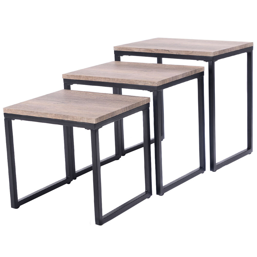 3pc stacking nesting coffee end table set living room for Table furniture