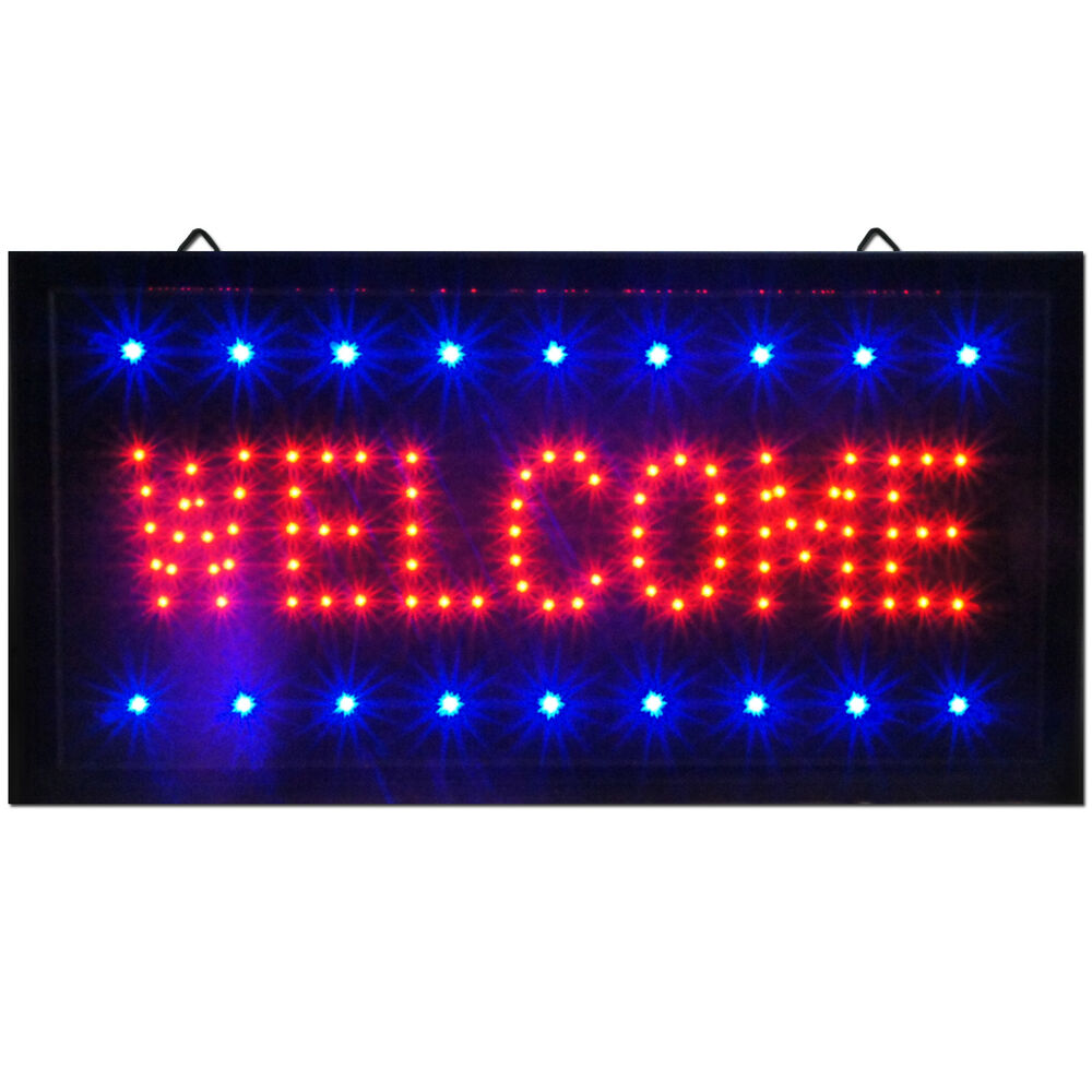 Bright Animated LED Welcome Shop Store Bar Open Sign 19x10