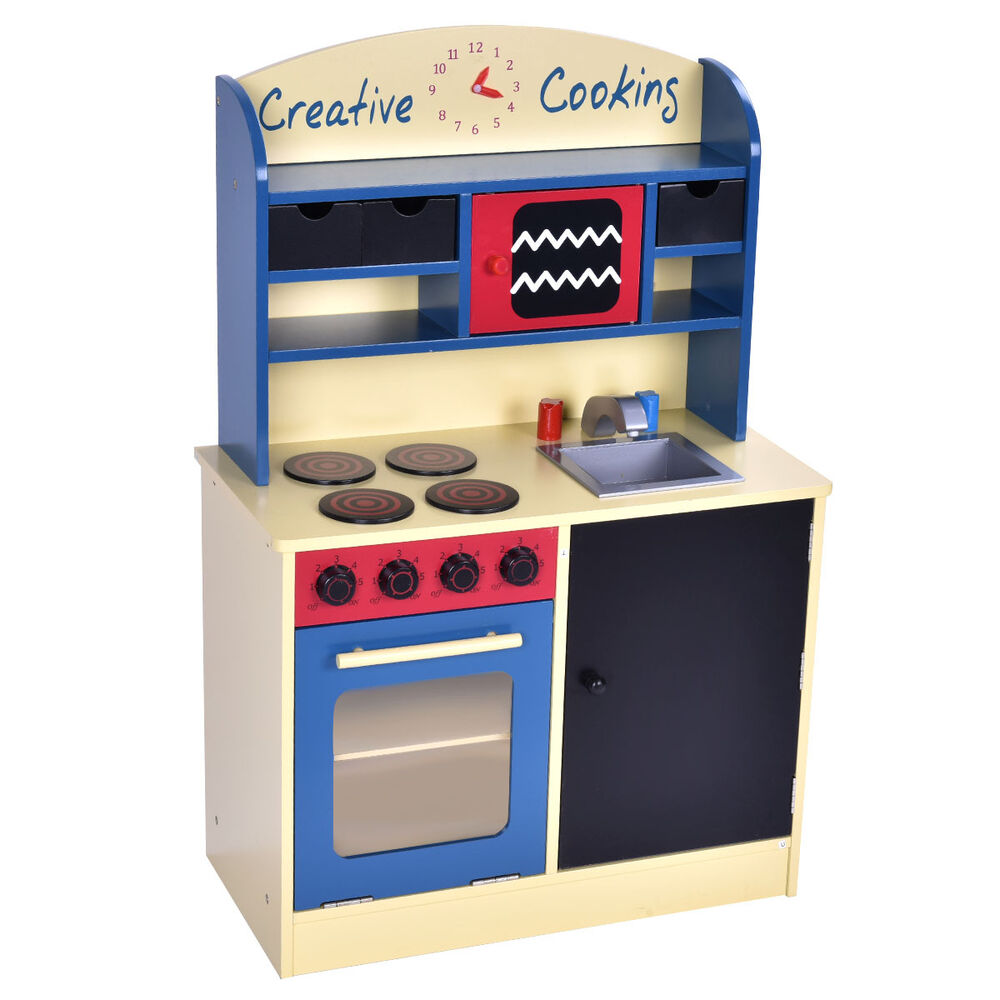 Wood kitchen toy kids cooking pretend play set toddler for Toddler kitchen set