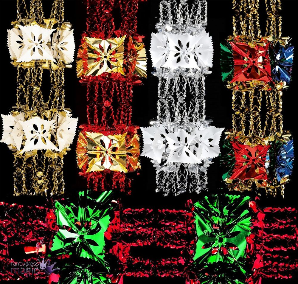 Foil luxury garland large foil christmas xmas for Hanging christmas decorations