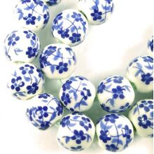 8mm Floral Blue White Porcelain decals Round Beads (20)