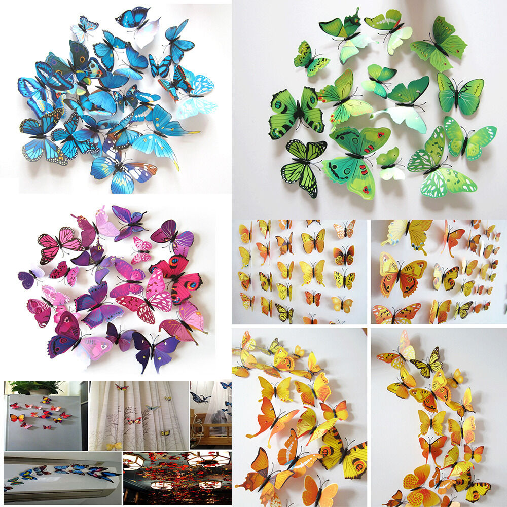 12pcs 3d butterfly sticker art design decal wall stickers for 3d wall decoration stickers