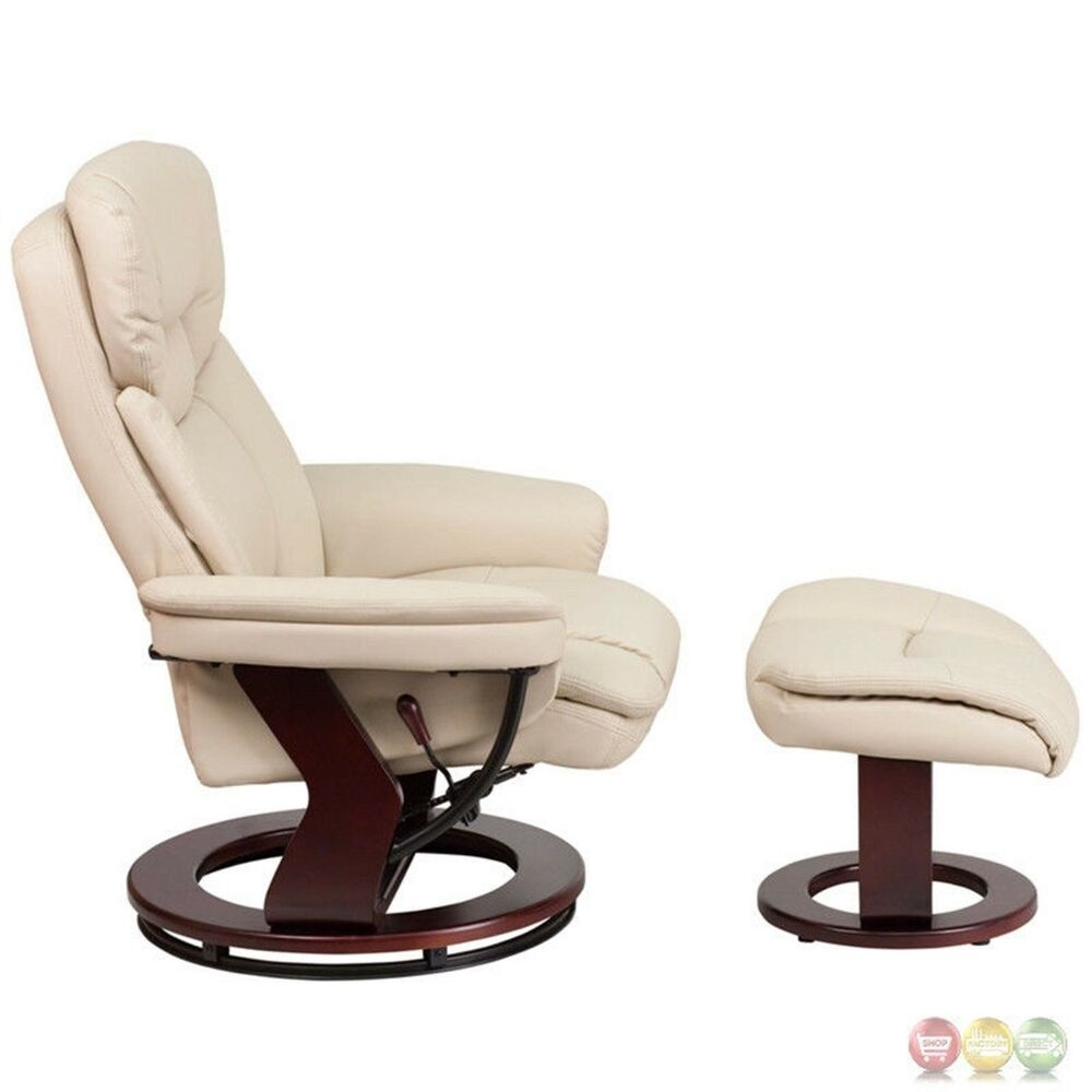 contemporary beige leather recliner ottoman w swiveling mahogany wood base ebay. Black Bedroom Furniture Sets. Home Design Ideas