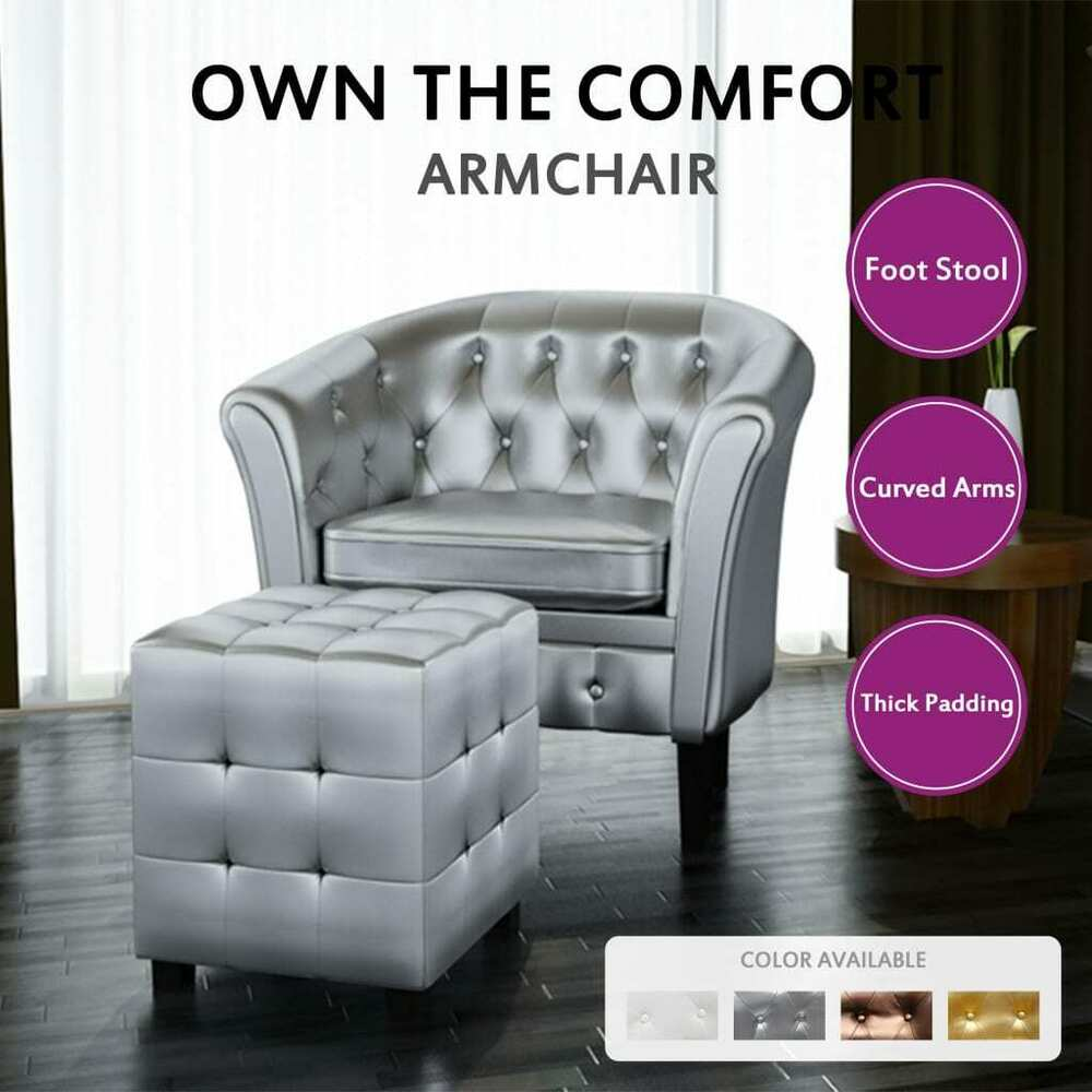 Bronze Silver White Gold Chesterfield Armchair Leather