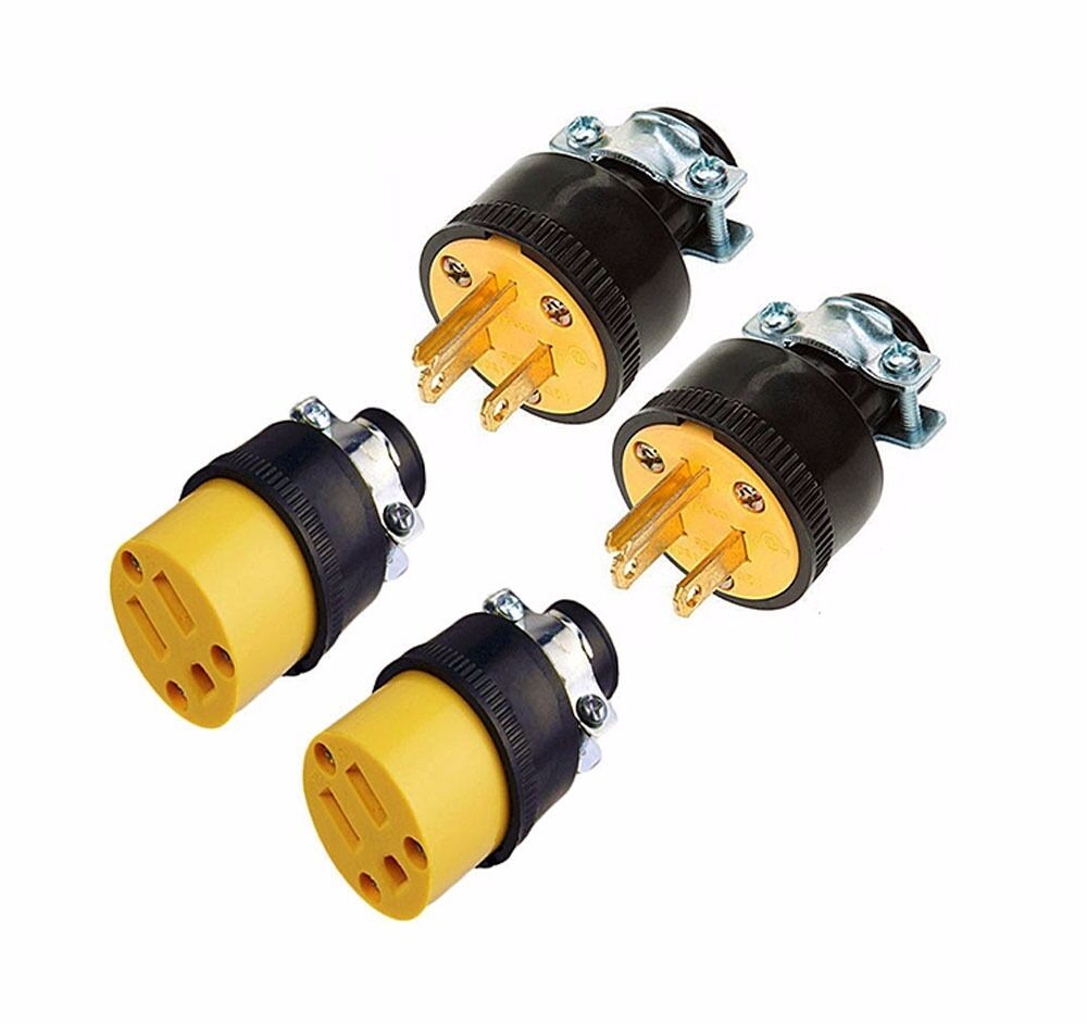 4 male female 3 wire replacement electrical plug ends 3. Black Bedroom Furniture Sets. Home Design Ideas