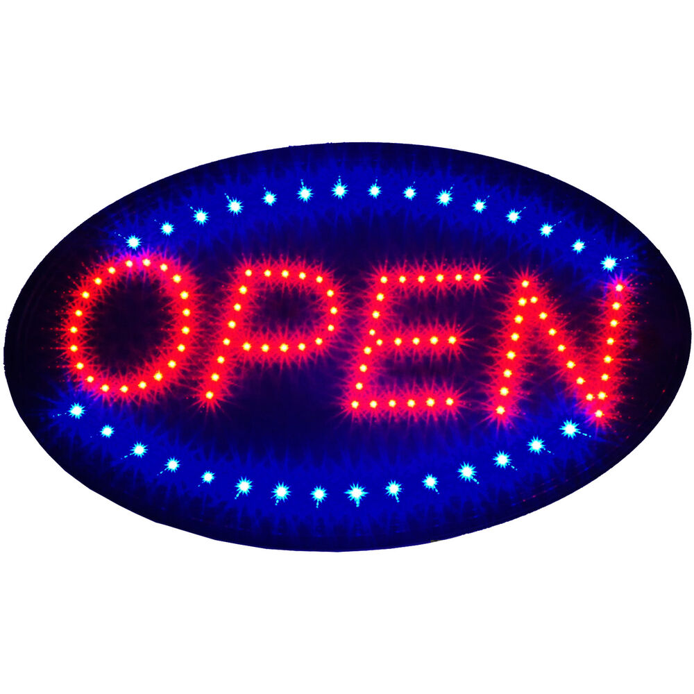large 23x14 bright animated oval open mart shop led store sign display neon ebay. Black Bedroom Furniture Sets. Home Design Ideas
