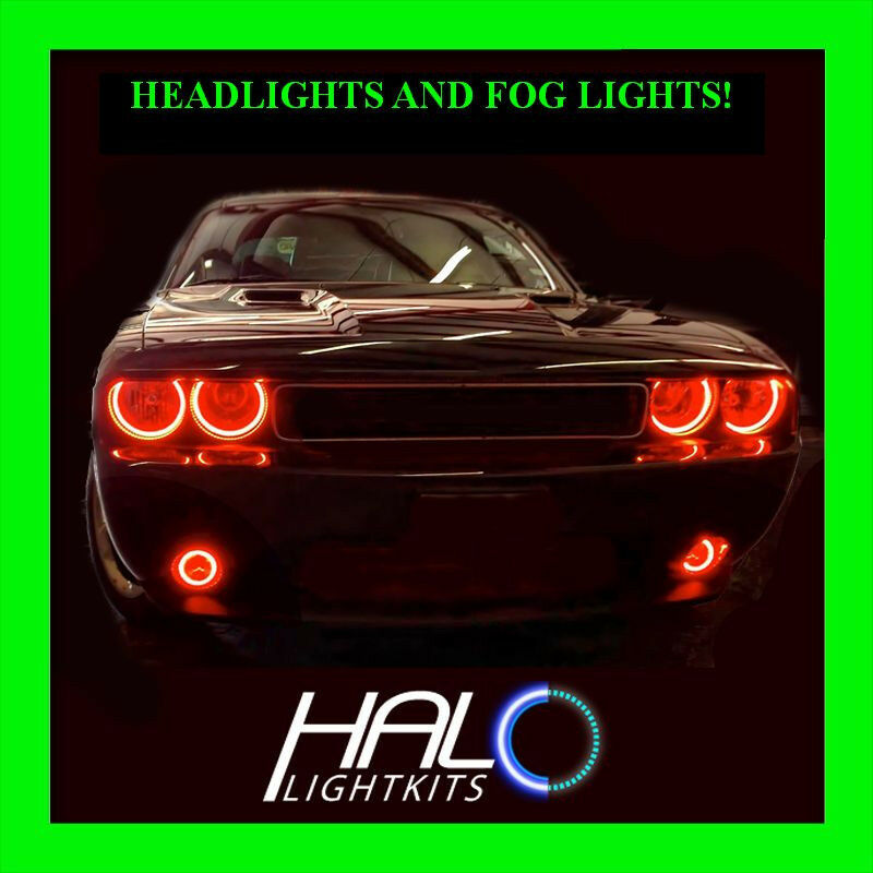 2008 2014 Dodge Challenger Red Led Halo Headlight Fog