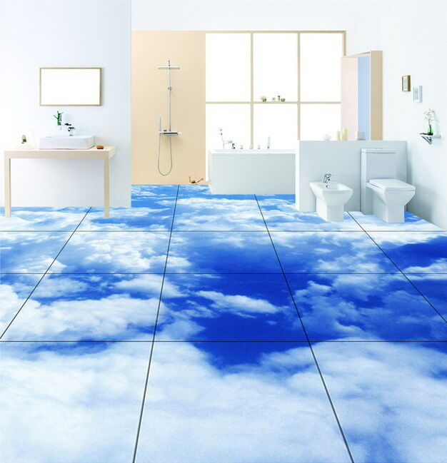 Wood Floor On Beach Sea And Blue Sky For Background Stock: Blue Sky Clouds Floor Decals 3D Wallpaper Wall Mural
